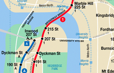 Subway Map to 207st